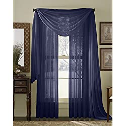 """HLC.ME Navy Blue Sheer Voile Window Curtain Scarf - Valance - Fully Stitched & Hemmed - 56"""" x 216"""" Inch Long"""