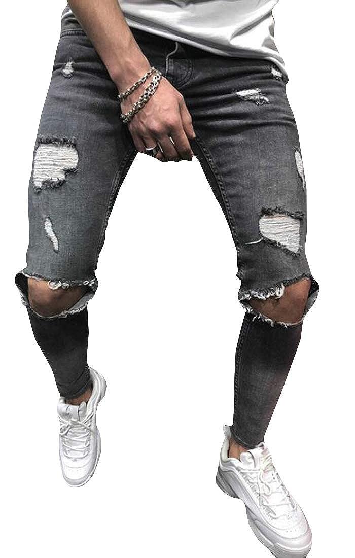 WAWAYA Mens Casual Slim Ripped Destroyed Straight Leg Mid Rise Denim Jeans Pants