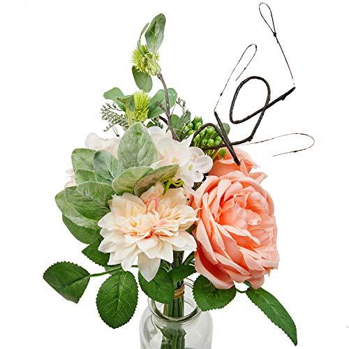 Flojery 1Bunch Artificial Rose Silk Dahlia Fake Flower Bouquet Bride Bridesmaid Holding Flowers for Home Hotel Office Wedding Party Garden Craft Art Decor (Peach Pink) (Flower Arrangment Silk)