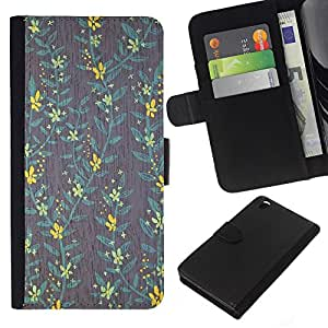 Stuss Case / Funda Carcasa PU de Cuero - Yellow Wallpaper trullo Gris Verde - HTC DESIRE 816