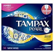 Tampax Pearl Regular Plastic Tampons, Unscented, 50 Count