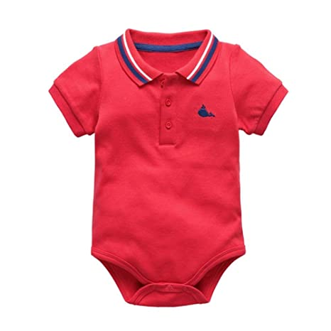 3600f2a5dd68 Wintefei Fashion Short Sleeve Polo Shirt Romper Summer Newborn Baby ...