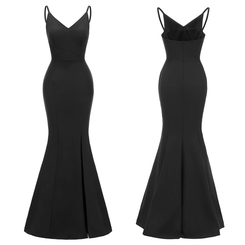 Snowfoller Elegant Ladies Summer V-Neck Cocktail Dress Summer Sleeveless Backless Bodycon Evening Mermaid Dress