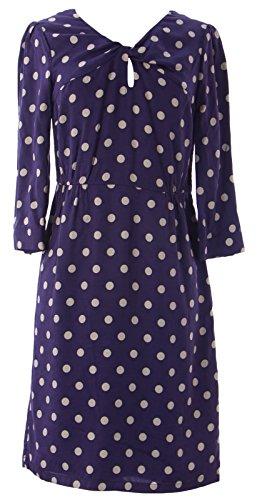 BODEN Women's Polka Dot Dress US Sz 4R Eggplant/White from BODEN