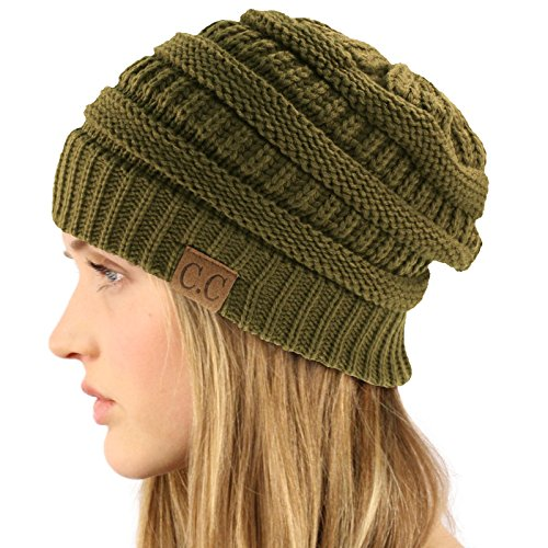 Olive Mens Beanie (Unisex Winter Chunky Soft Stretch Cable Knit Slouch Beanie Skully Hat Cap Olive, One Size)