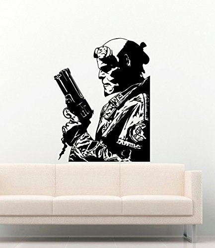 Cool Poster Comics Hero Hellboy Vinyl Wall Decals Guns Weapon Red Devil Vinyl Decors Stickers Vinyl Murals MK3141