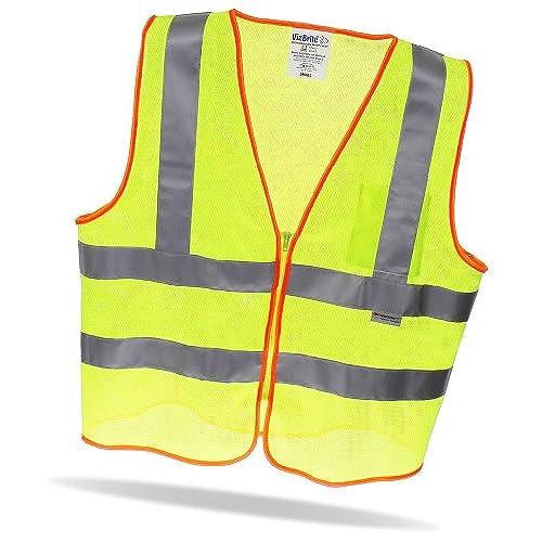 VizBrite 3M Safety Vest Reflective O Hi Viz ANSI Class 2 With Pocket And Zipper Multi Use Motorcycle
