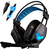 SADES A30S USB Stereo Gaming Headset Bass Vibration Over Ear Headphones with Microphone Volume Control Noise Isolating LED Lights for PC MAC Gamers (Black)