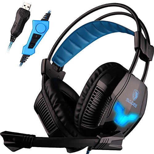 Gaming Headset Vibration - SADES A30S USB Stereo Gaming Headset Bass Vibration Over Ear Headphones with Microphone Volume Control Noise Isolating LED Lights for PC MAC Gamers (Black)