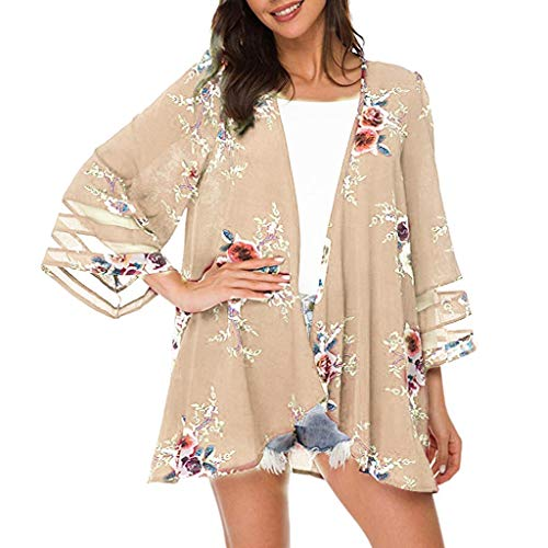 Summer Tops for Women 2019 Tronet Women Mesh Panel 3/4 Bell Sleeve Floral Chiffon Casual Loose Kimono Cardigan ()