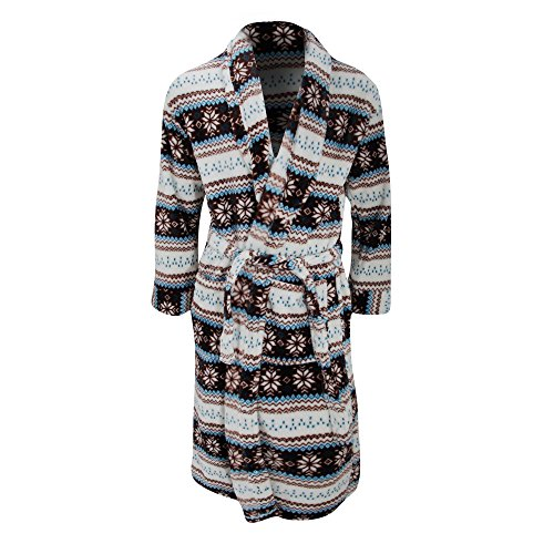 Buy mens waffle dressing gown white - 8