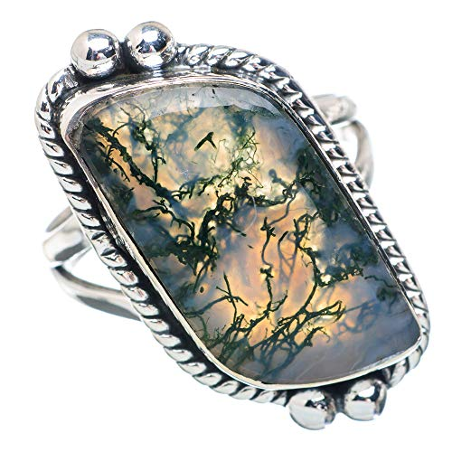 Green Moss Agate Ring Size 8.25 (925 Sterling Silver) - Handmade Boho Vintage Jewelry RING884695 ()