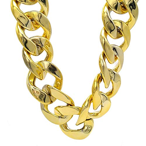 (PinCute Faux Acrylic Gold Chain Necklace, Big Chunky Hip Hop Turnover Plastic Necklace, 90s Punk Style Necklace for Rapper Costume, 32 inches Long (Gold, 32 inch))