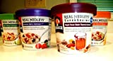 Quaker Real Medley's VARIETY PACK + FREE 48 count pack of heavy duty PLASTIC SPOONS: 2 BOWLS OF MAPLE PECAN RAISIN, 2 BOWLS OF APPLE WALNUT OATMEAL, 2 BOWLS OF PEACH ALMOND & 2 BOWLS OF SUMMER BERRY (8 PACK)