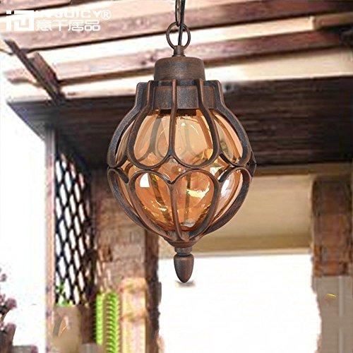Injuicy Lighting Vintage Industrial E27 Edison Metal Glass Pendant Lights Lamps Shades Waterproof Outdoor Courtyard Garden Ceiling Lights Fixtures Balcony Corridor Hydrangea Brown (Dia.11 Inch)