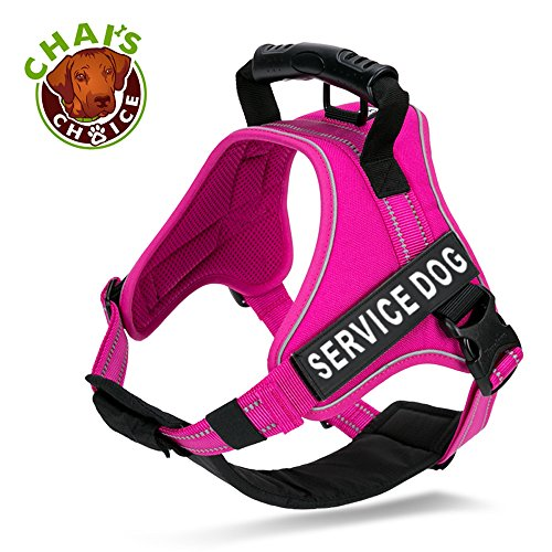 Picture of Chai's Choice Service Dog Vest Harness Best Truelove Model with 2 Reflective Patches and Sturdy Handle. Matching Padded Reflective Leash Available (X-Small, Fuchsia)