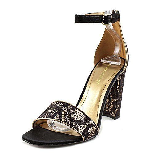 Marc Fisher Womens Factor2 Fabric Open Toe Casual Ankle Strap Sandals Black/Gold DAqHJtjG