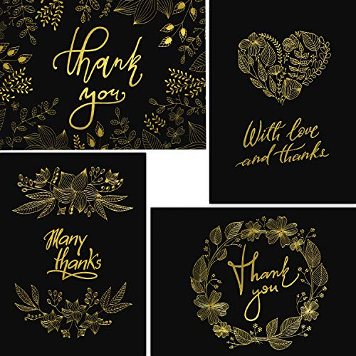 (50 Thank You Cards - Black and Gold Note Cards with Embossed Foil - Perfect for Your Wedding, Baby Shower, Business, Graduation, Bridal Shower, Birthday, Engagement)