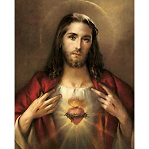 carded 8x10 prints for framing sacred heart of jesus linen paper 7 and 4 color process printing