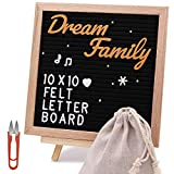 Felt Letter Board 10x10 Inches with Stand. Changeable Letter Boards Include 320 White Plastic Letters & Oak Frame. Decorative Display Board Designed with Metal Hook on The Wall (Black)