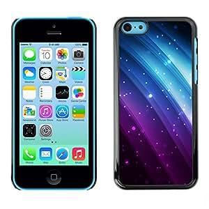 TopCaseStore / la caja del caucho duro de la cubierta de protección de la piel - Glitter Purple Blue Rainbow Black Sparkle - Apple iPhone 5C