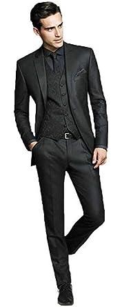 48ce6de32ff Botong Black Wedding Suits for Men 3 Pieces Business Men Suits Groom  Tuxedos Black 34 chest