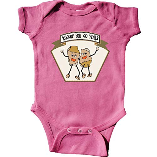 (inktastic - Rockin' for 40 Years Infant Creeper Newborn Raspberry 2a6fd)