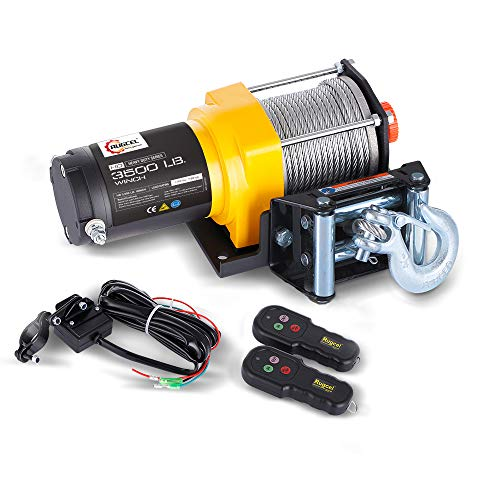 RUGCEL WINCH Waterproof IP68 Electric Winch with Hawse Fairlead,Steel Wire Rope, 2 Wired Handle and 2 Wireless Remote (3500 lb.Load Capacity)