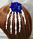 Antique Steampunk Jewelry Skeleton Hand Hair Clips Rose Flower Goth Hair Accessories Crystal Hairpins Handmade Katoot (Blue Flower)