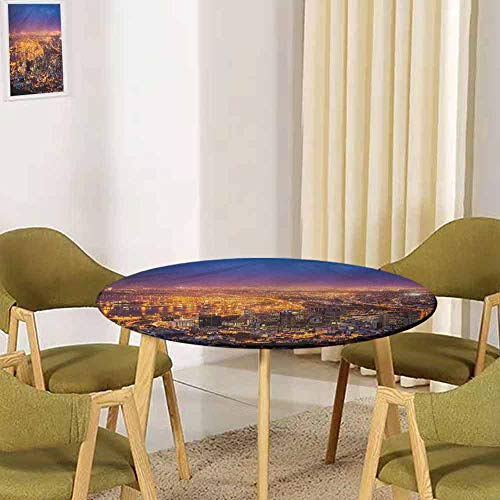 """UHOO2018 City,Dining Tablecloth Retro Cape Town Panorama Africa Restaurant Party Decoration(Elastic Edged) 35.5""""-37.5"""" Round"""