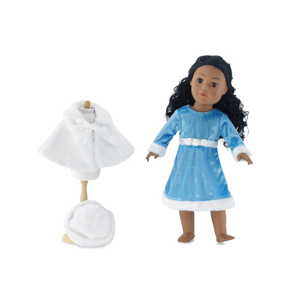 18 Inch Doll Clothes Ice Blue Winter Dress Outfit with White Faux Fur Hat and Cape Fits American Girl Dolls Emily Rose Doll Clothes