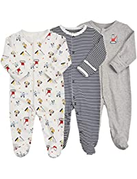 Baby Footed Pajamas with Mittens - 3 Packs Girls Boys Baby Footie Onesies Sleeper Newborn Cotton Sleepwear Infant Outfits