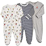 Baby Footed Pajamas with Mittens - 3 Packs Boys Baby Footie Onesies Sleeper Newborn Cotton Sleepwear Infant Outfits (3-6 Months, Grey/Stripe/Excavator)