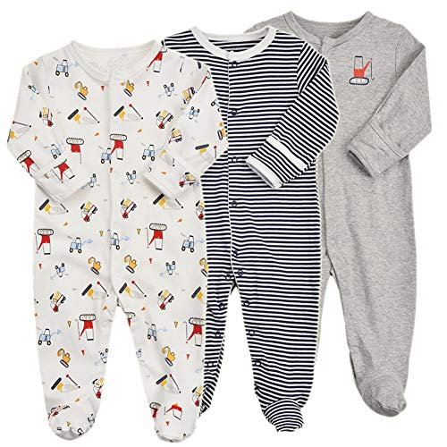 Baby Footed Pajamas with Mittens - 3 Packs Boys Baby Footie Onesies Sleeper Newborn Cotton Sleepwear Infant Outfits (3-6 Months, -