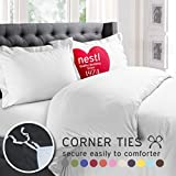 Image of Nestl Bedding Soft Double Brushed Microfiber King 3-Piece Duvet Cover Set with 2 Pillow Shams and Duvet Insert -Button Closure, White