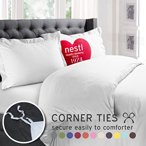 Nestl Bedding Soft Double Brushed Microfiber King 3-Piece Duvet Cover Set with 2 Pillow Shams and Duvet Insert -Button Closure, White
