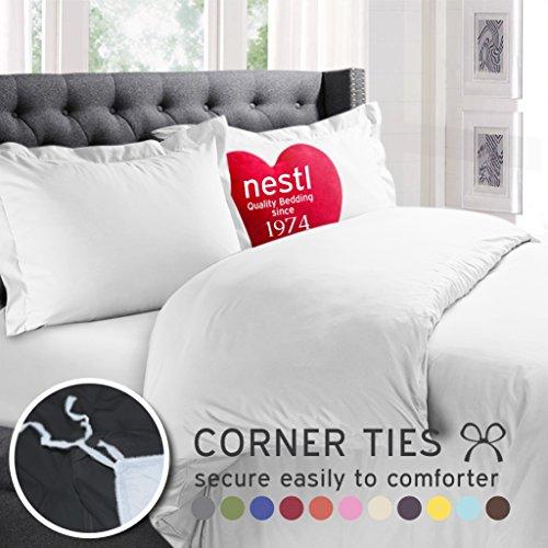 Nestl Bedding Duvet Cover Comforter Protector, 100% Microfiber, 3 Piece Set Includes 2 Pillow Shams, Queen Size, White (Queen Size White Duvet Cover)