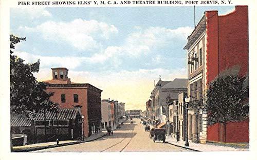 Pike Street Showing Elks' YMCA & Theatre Building Port Jervis, New York Postcard