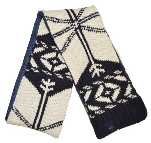 RLX by Ralph Lauren Men Fashion Winter Scarf (One size, Off white/navy)