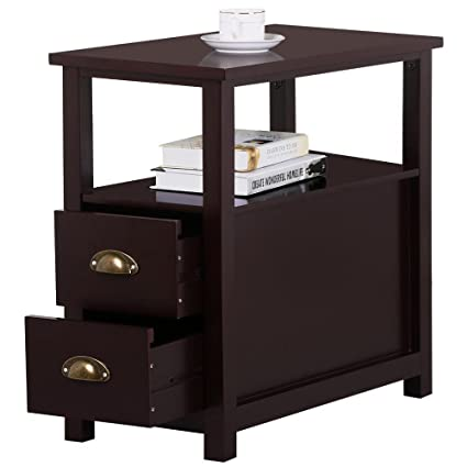 Amazon go2buy sofa side narrow end table with 2 drawer and go2buy sofa side narrow end table with 2 drawer and shelf nightstand for small spaces living watchthetrailerfo