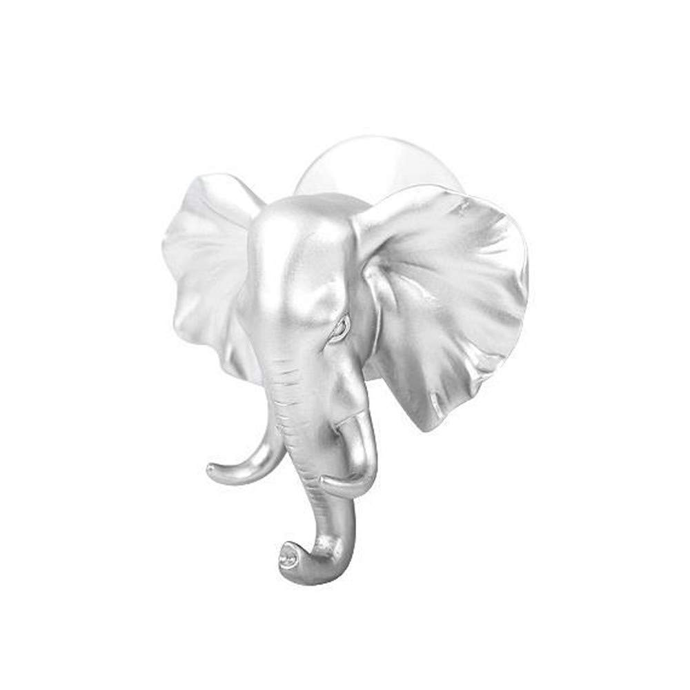 HANANei Sticky Holder, Lovely Elephant Head Self Adhesive Wall Door Hook Hanger Bag Keys for Home, Office, Closet Storage (Silver)