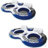 Intex River Run II Water Tube Float Raft Lounger w Cooler Model 58837EP (2 Pack)