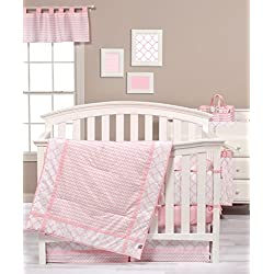Trend Lab Pink and White Sky 3 Piece Crib Bedding Set