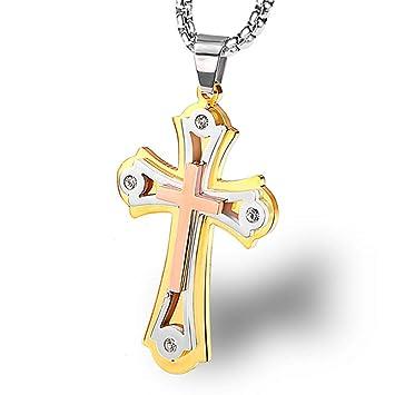 104aa90e2252 Burenqi Collar de oración de Acero Inoxidable de múltiples Capas de ...
