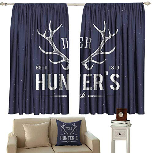 Home Decoration Thermal Insulated Curtains,Hunting Decor Deer Hunters Club Logo Design with Antlers Retro Typography Shabby Icon,Darkening and Thermal Insulating Draperies,W55x72L Inches Navy Blue Wh