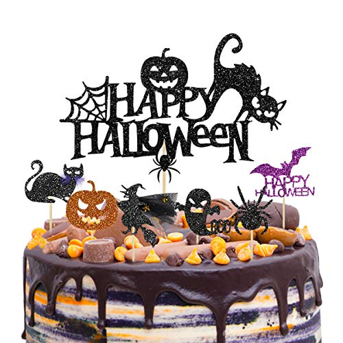 Cake Decorations For Halloween (37 Halloween Partyc Cake Topper Cupcake Toppers Picks Decorations Kit Cake Cupcake Muffin Black Cat Spider Pumpkin Bat Ghost Witch Shape Food Picks Toppers for Halloween Party Supplies Themed)