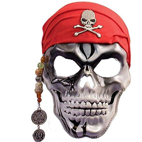 Forum Novelties 74366 Unisex-Adults Mask-Captain Skull, White, Red, Standard, Multicolor]()