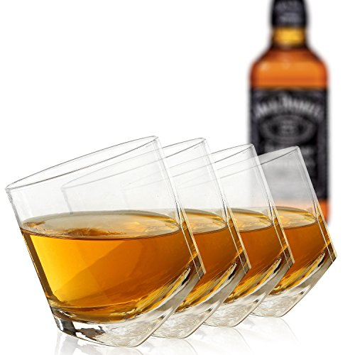 Tilting Whiskey Scotch Clear Glass / Highball Tumbler Party Glasses (10oz), Set...