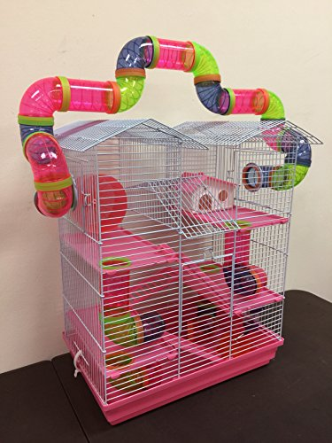 5 Level Large Cross Twin Towner Tube Tunnel Habitat Hamster Rodent Gerbil Mouse Mice Rat Cage (Pink)