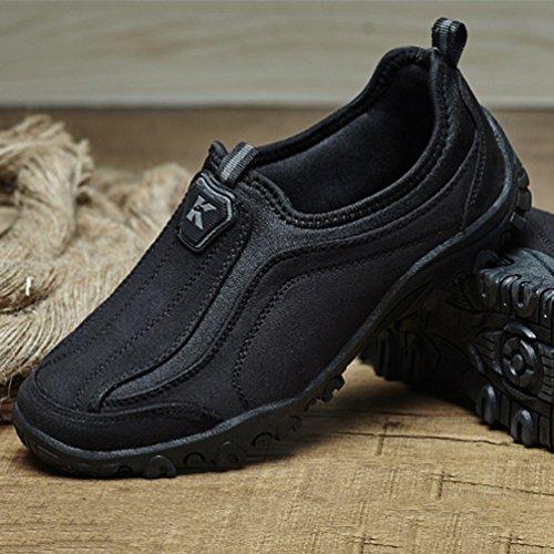 Casuel Chaussure Lacet 45 sans Paresseuse 39 pour Chaussure Noir Homme Basse Basket Loafer Mode Marcher fnvxw